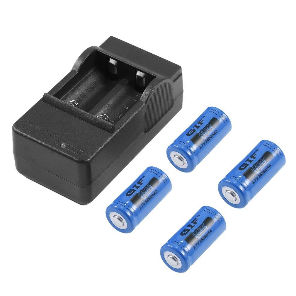 4 pces 16340 3.7 v 2800 mah recarregável li-ion bateria + eua plug carregador 3 cor para lanterna câmera