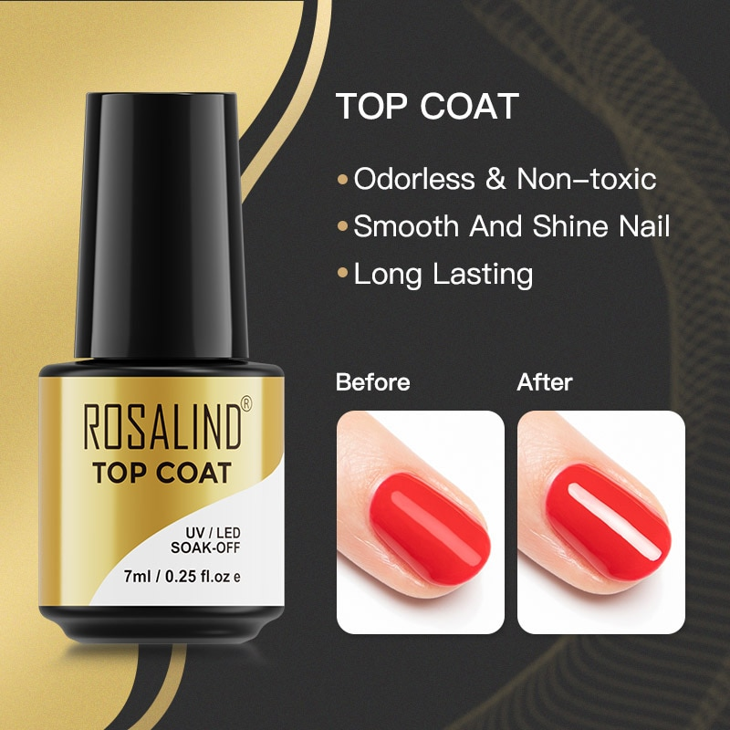 ROSALIND 7ml Top Coat Gel Nail Polish Nails UV LED Lamp Semi Vernis Permanent Nails Art Manicure Soa