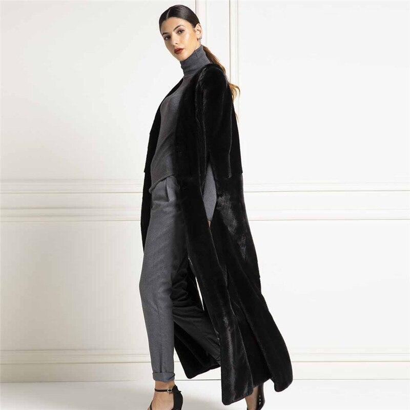 Fursarcar 2020 mulheres colete de pele de vison real 130cm longo bat sleeved overcoat toda a pele inverno natural casacos de pele de vison feminino