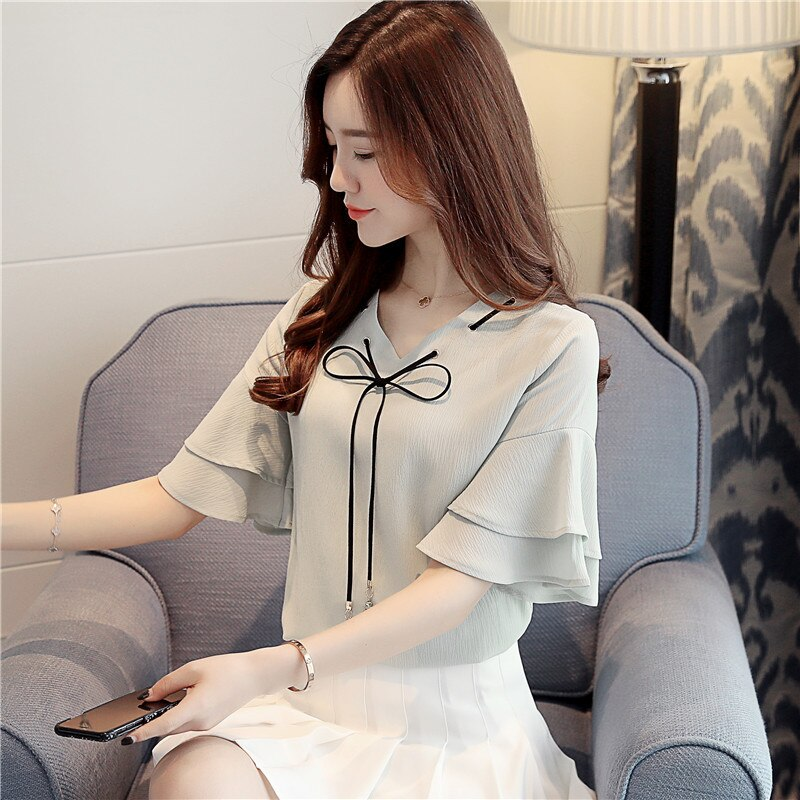 2020 Women BlouseTops Summer Hollow Casual Loose Short Sleeve Solid V-neck Chiffon trumpet sleeve Blouses Female Shirts Vest