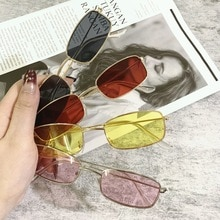 1Pc Candy Color Metal Frame Rectangle Sunglasses Small Retro Shades UV400 Sun Glasses Men Women Driv