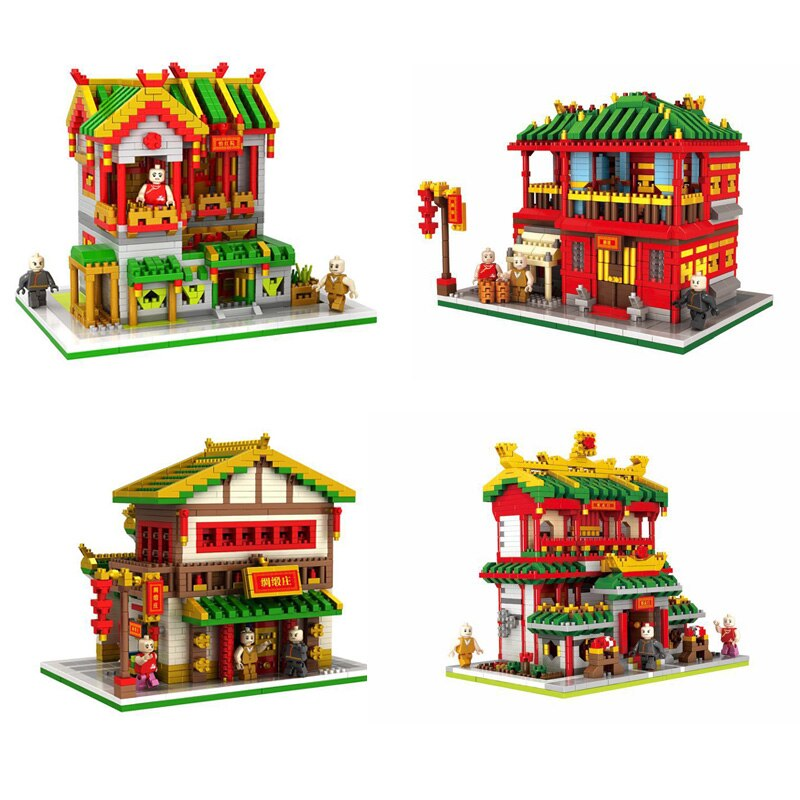 La ciudad de mini vista a la calle chinatown nanobrick Club mercery chino marciales artes restaurante micro diamante juguetes de bloques