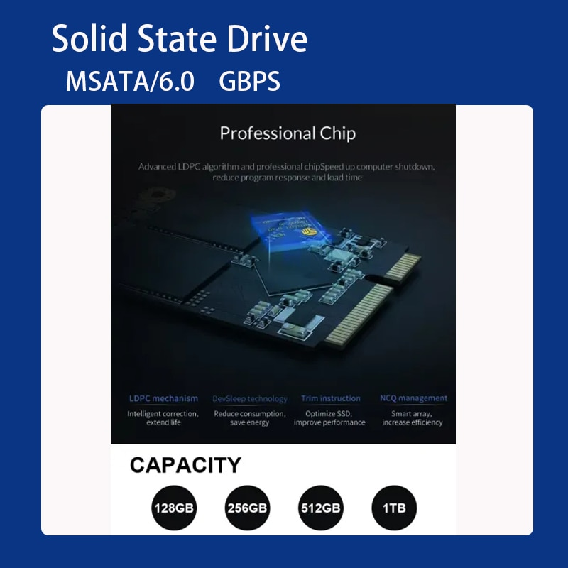Gicisky MSATA SSD 60GB 128GB 256GB 512GB 1TB 3x5cm Mini SATA 3 Internal Solid State Hard Drive Hard Disk for Laptop and Desktop enlarge