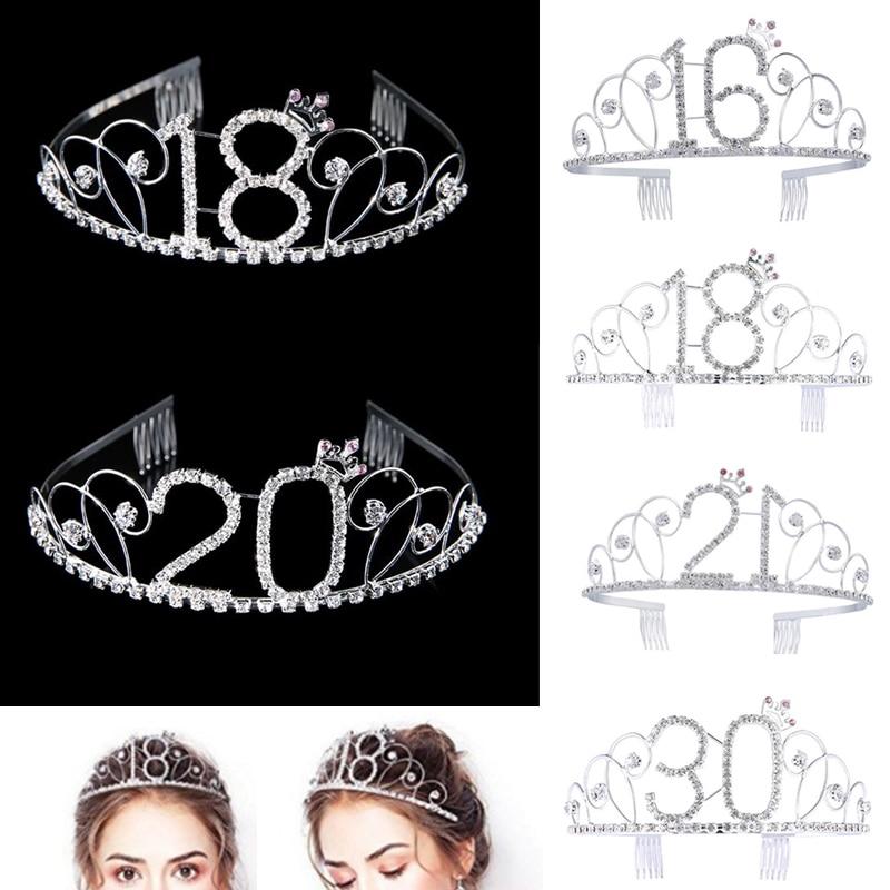 Women 16-100year Birthday Party Princess Crystal Rhinestone Hair Tiara Stu Wedding Bridal Crown Headband Hair Accessories