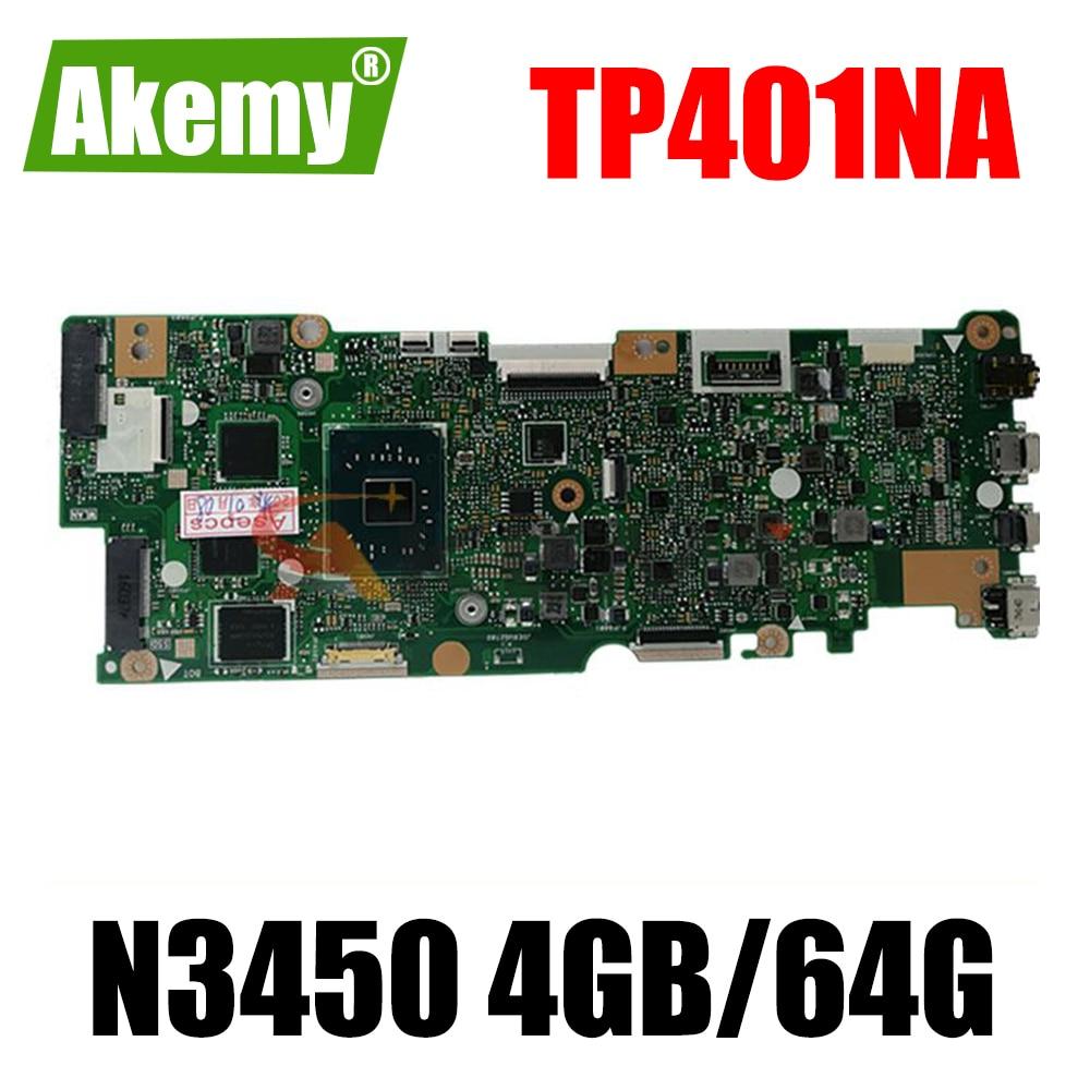 لوحة الأم TP401NA مع N3450 / 4G / 64G-SSD لـ Asus Vivobook Flip TP401NA TP401N TP401MA TP401MA TP401MAS لوحة الأم للكمبيوتر المحمول