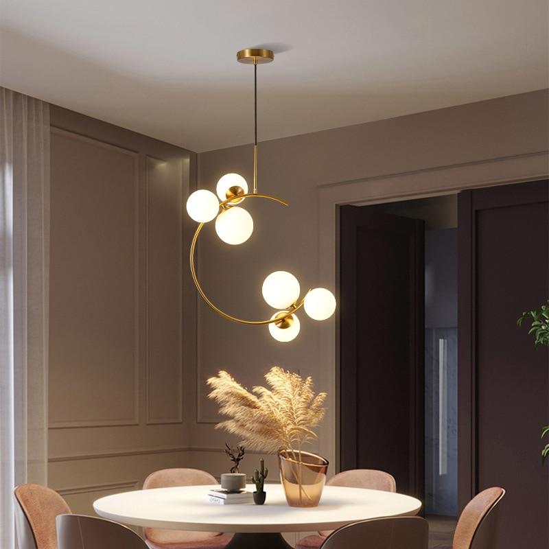LED الثريا الإبداعية نوم السرير مصباح معلق كرة زجاجية الحديثة الشمال مطعم بار القهوة مصباح بسيط حلية ذهبية
