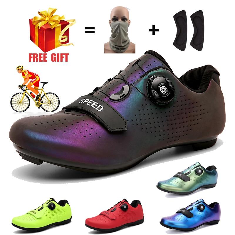 Zapatillas de deporte profesionales para hombre y mujer, Ciclismo de Carretera de velocidad, MTB, SPD, estilo libre, con tacos, Velocidad de ciclismo giratorio