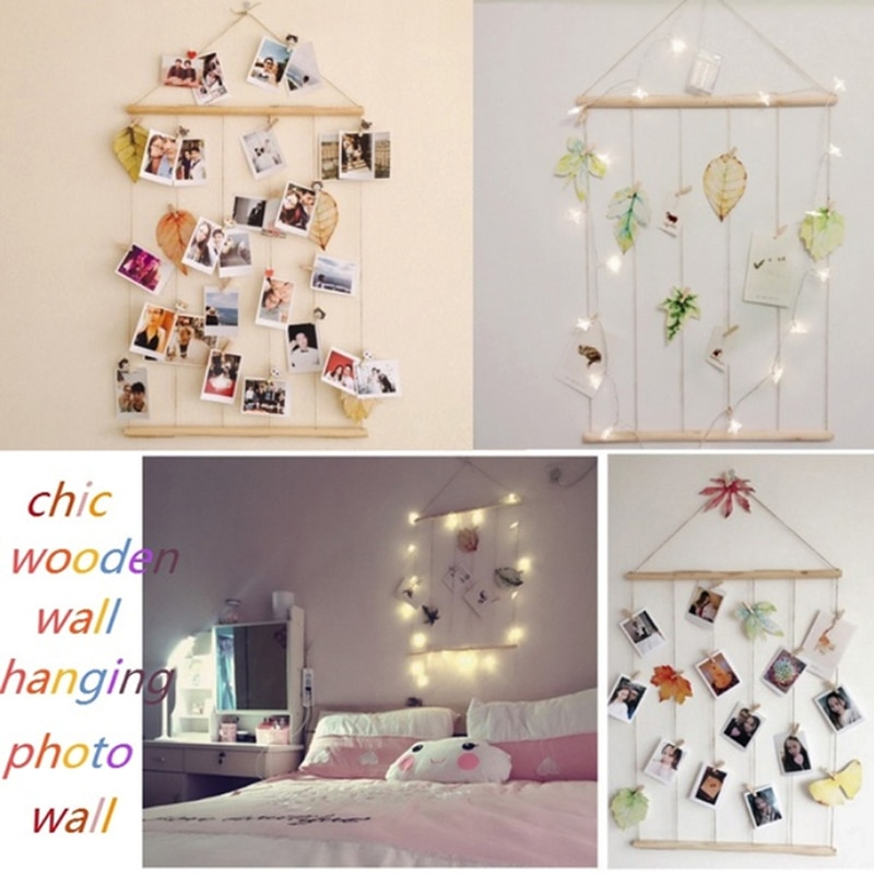 Tassel Cotton Rope Wall Hanging Picture Frame Wooden Stick Hanging DIY Photo Display Rack Picture Organizer with Clip Home Decor