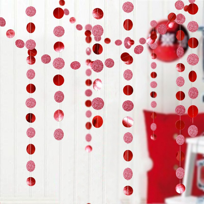 4M Glitter DIY Paper Garlands Red Green Round Star Pull Flags Pedant Birthday Wedding Event Party Decoration Garland Banner