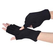 Outdoor Sport Mountain Bike Riding Men Black Knitted Stretch Elastic Warm Half Finger Fingerless Gloves W1009