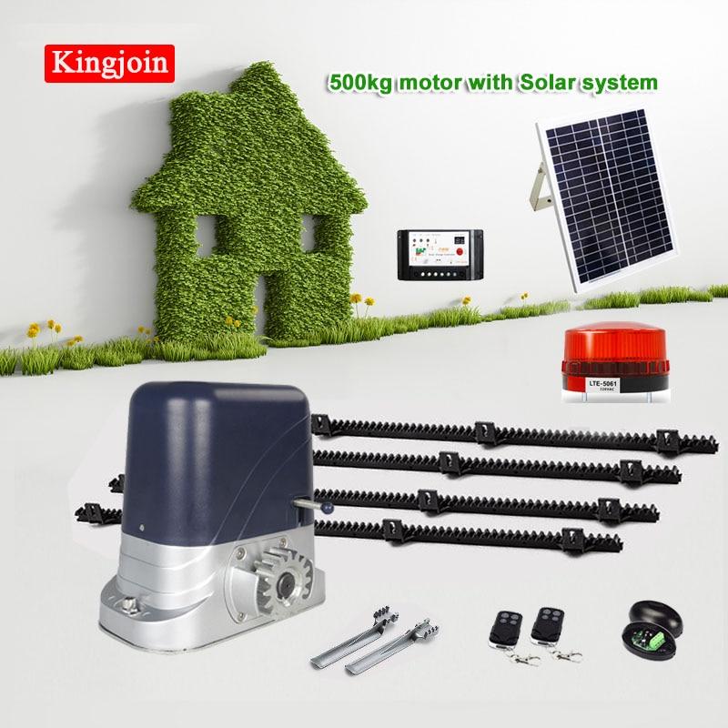 Abridor de puerta corrediza automático de energía SOLAR DC KINGJOIN con bastidores de nailon de 4m 1 luz de flash 1 par de fotocélulas