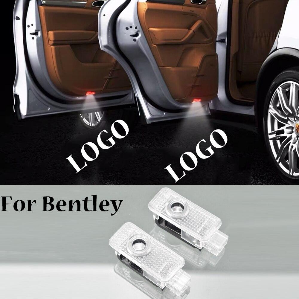 2 piezas de luz de bienvenida de coche para Bentley Flying spur Bentayga Continental, Logo de puerta, lámpara de cortesía, proyector, luz inalámbrica