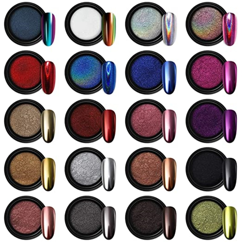 Nail Powder 24 Color Holographic Chrome Mirror Laser Synthetic Resin Pigment Manicure Art Eye Mirror