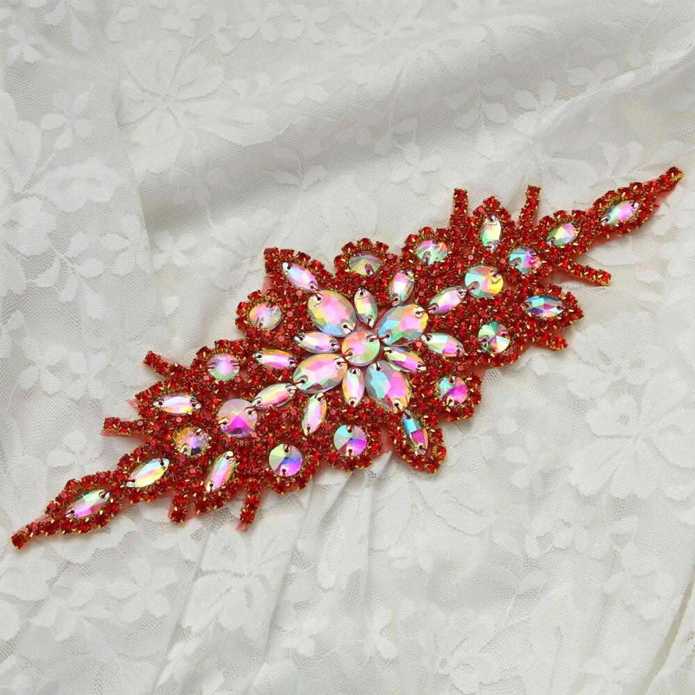 9,25x3,5 cm piedras de cristal rojo apliques parche de hierro para mujeres vestido de noche cinturón de diamantes de imitación boda apliques parches strass