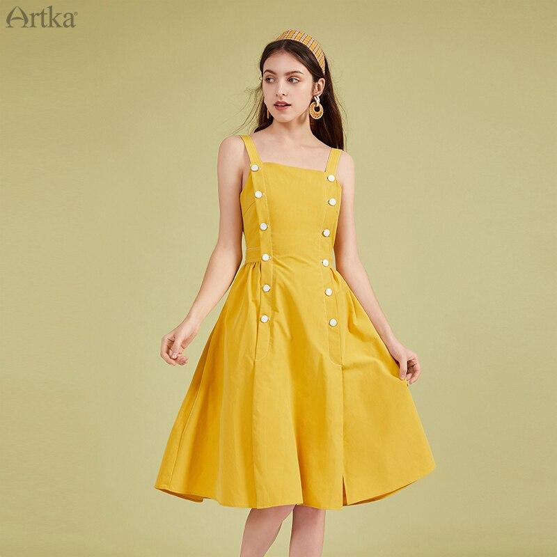 ARTKA-فستان ترابيز عتيق بدون أكمام للنساء ، مجموعة جديدة لربيع وصيف 2020 ، فستان مزدوج الصدر ، LA20703C