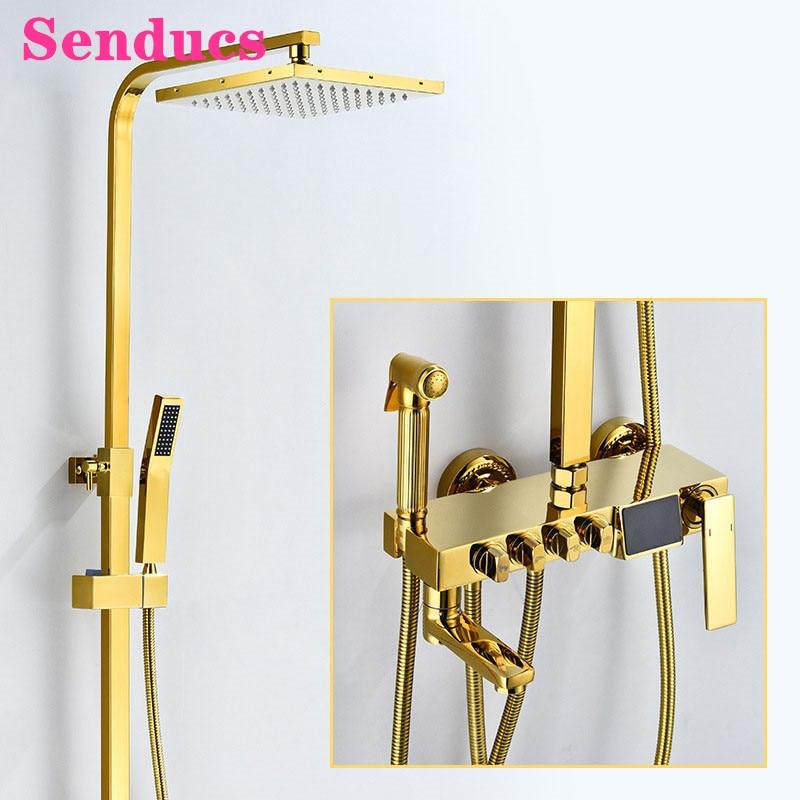 Senducs-مجموعة دش الحمام الرقمية ، نظام دش مثبت على الحائط ، رأس دش مطري ، دش ثرموستاتي نحاسي ذهبي
