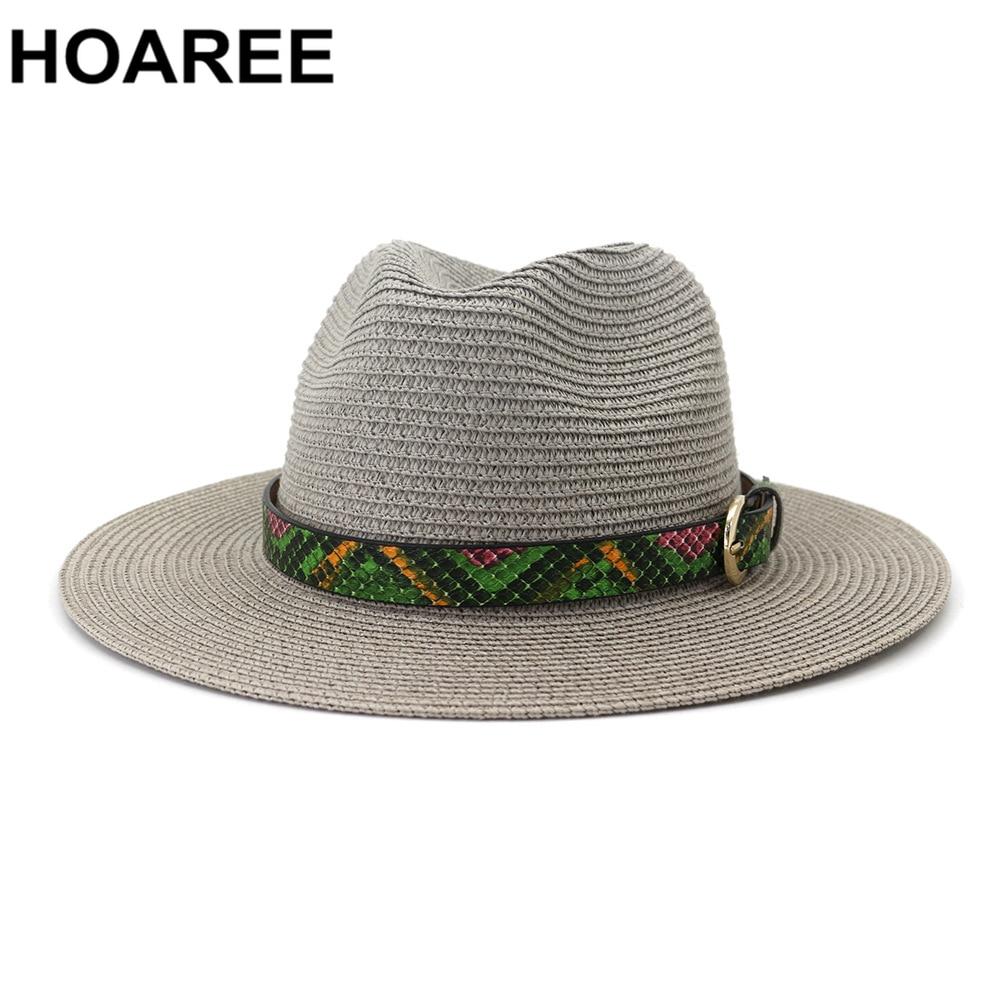 HOAREE Panama Hat Summer Sun Hats for Women Man Beach Straw Hat for Men Gray Khaki Pink Beige UV Protection Cap Chapeau Femme