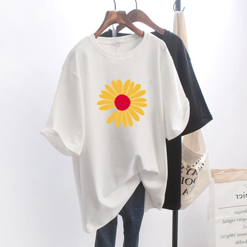 Little Daisy Short Female Summer New Western Style White T-shirt Loose Student Mid-Length Half Sleev