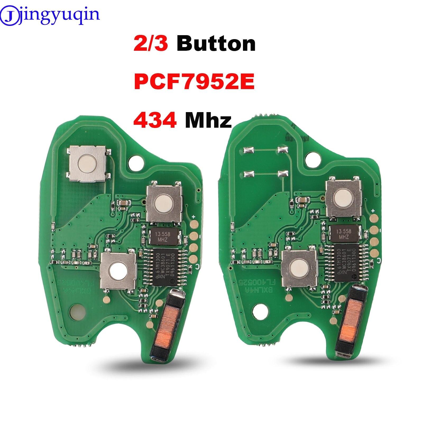 Placa de circuito de llave remota de coche jingyuqin 2/3BTN para Renault Clio Scenic Kangoo Megane PCF7952E Chip 434MHZ