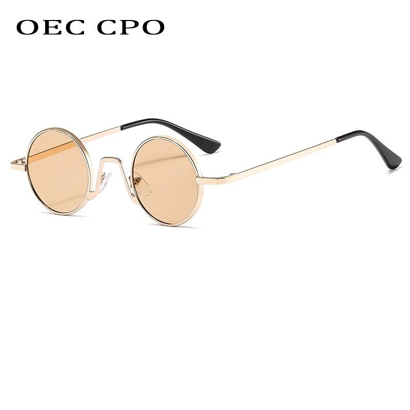 OEC CPO Metal Punk ronda de gafas de sol de las mujeres clásico para hombres, diseñador de marca, gafas de sol de conducción de la mujer UV400 gafas O608