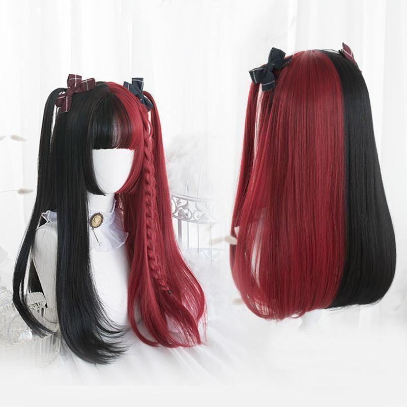 Лолита Черный Красный Омбре длинный короткий кудрявый прямой Боб челка Хэллоуин Синтетический Косплей парик 2 стиля