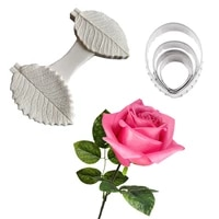 valentines day rose leaf veiners silicone mold diy fondant cake clay flower mould chocolate fudge kitchen bking utensils cs406