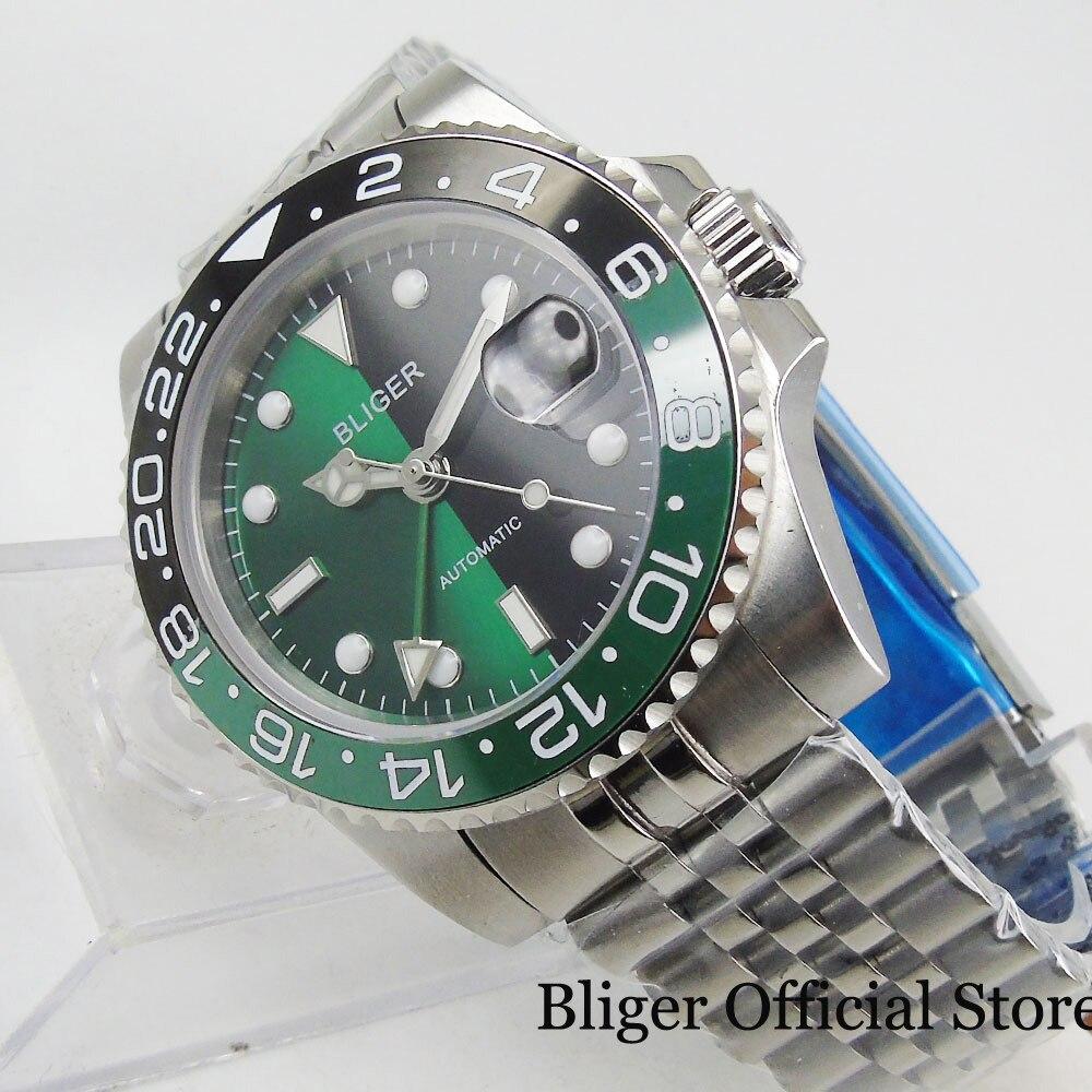 BLIGER recién llegado reloj de pulsera de 40mm hombre zafiro vidrio fecha ventana cerámica bisel GMT correa de mano Mental
