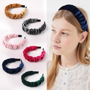 2pc creative new solid color gold velvet pleated wavy fabric headband cross-border retro headband