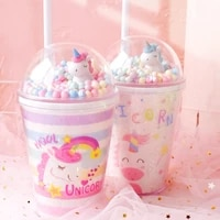 water bottle creative lucky unicorn water bottle and straw powder lovely children ice cup girl double wall cup christmas gift