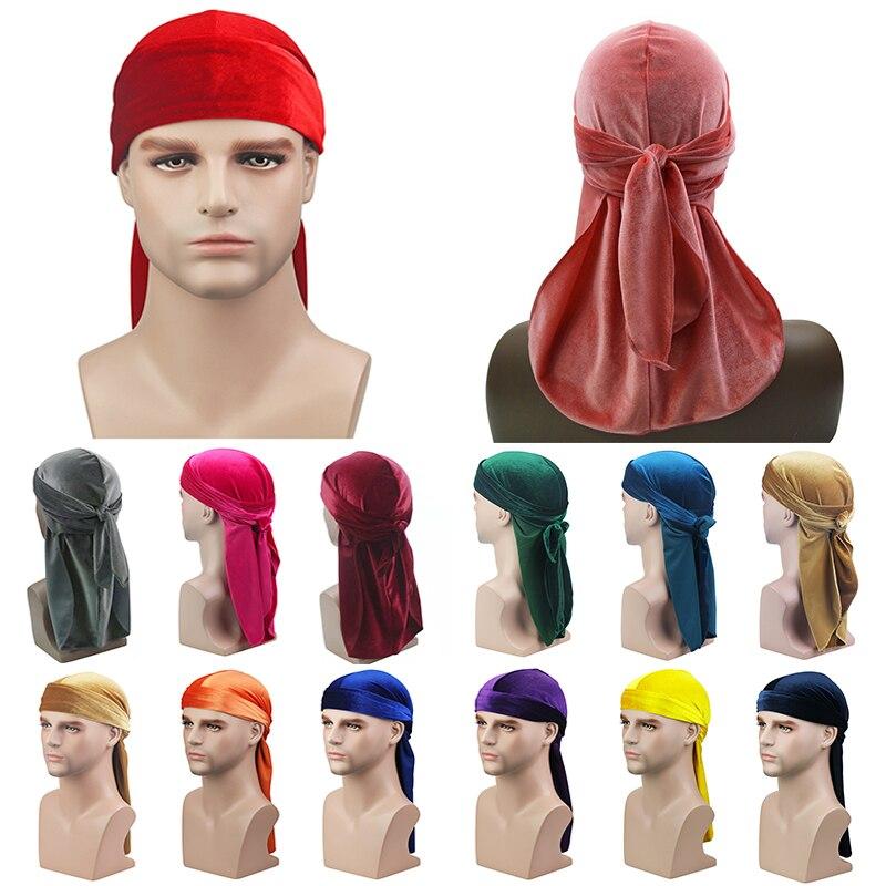 2020 neue Unisex Atmungsaktive Samt Turban Hut Durag Perücken Doo Headwrap Chemo Kappe Lange Schwanz Pirate Hut Männer frauen Haar zubehör