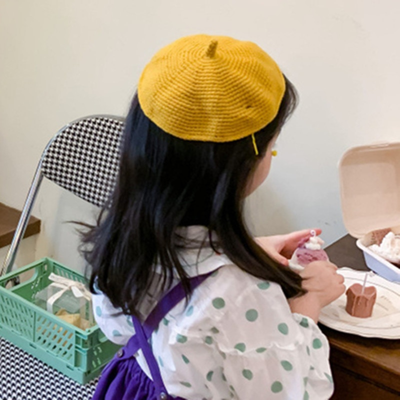 2021 Модный милый берет для маленьких девочек и мальчиков, шапка, Детские однотонные шерстяные вязаные крючком детские шапки, шапки, винтажна...