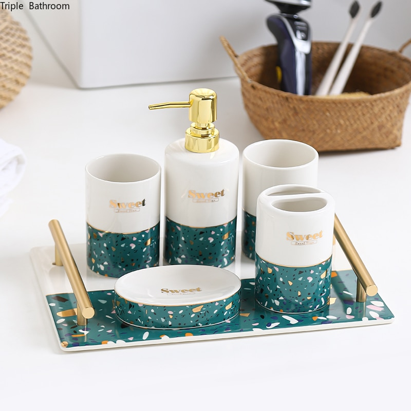 Ceramics Suit Wash Supplies Light Luxury Style Toothbrush Cup Lotion Bottle Soap Box Toothbrush Holder Bathroom Five Piece Set enlarge