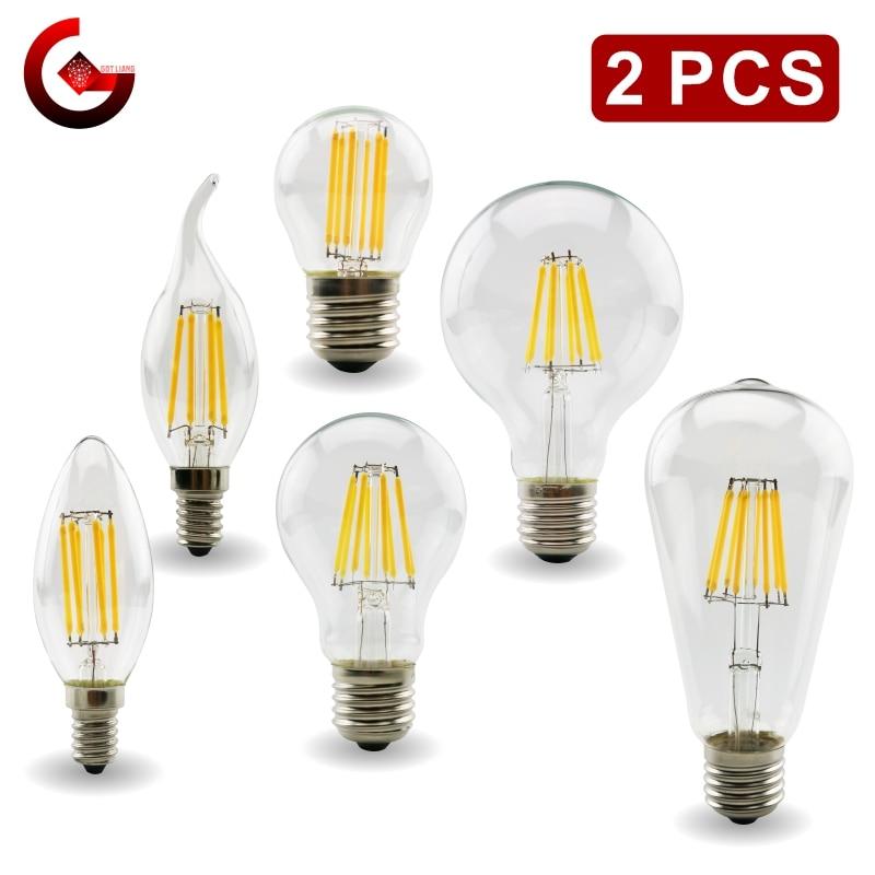Винтажная светодиодный ная лампа накаливания E27 E14, LED лампа накаливания Эдисона, 220 светильник переменного тока, C35, G45, A60, ST64, G80, G95, G125, 2 шт.