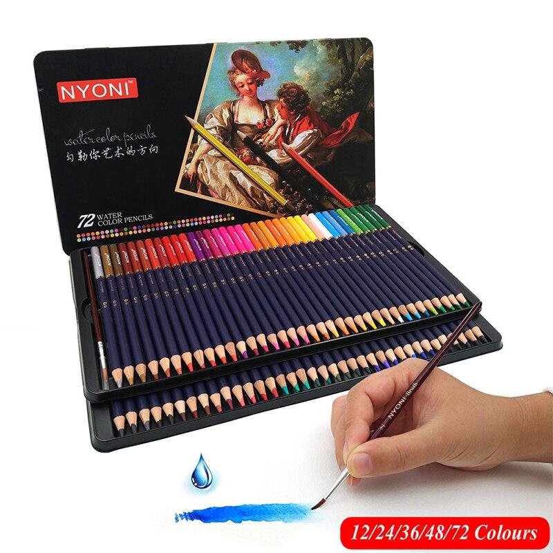 48/72 farbe wasser-löslich farbe bleistift farbe bleistift wasser-löslich farbe bleistift set geschenk box hand-gemalt lernen liefert