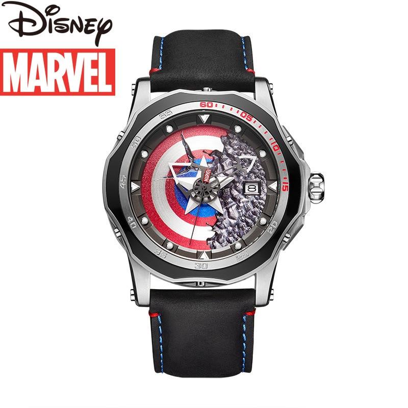 Disney cute cartoon Marvel Avengers Captain America men's watch quartz leather fashion sports personality luxury watch