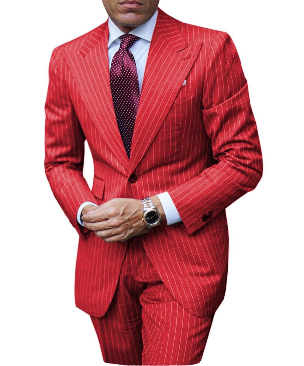 Mens Suits 2 Pieces Solid Pinstripe Elegant Peaked Collar V Neck Groomsmen Tuxedos Wedding Suits for Men (Blazer+Pants)
