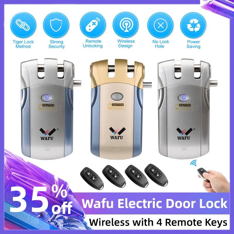 Wafu WF-018 Electronic Door Lock Smart Lock Door Zinc Alloy Security Invisible Keyless Wireless Remote Control Electric Lock