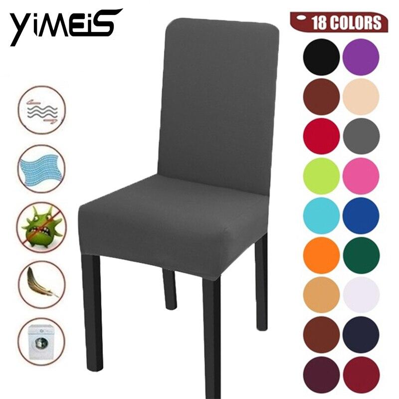 Color sólido fundas de LICRA para silla elástico fundas para silla de Comedor Cocina banquete de boda Silla de Hotel Decoración