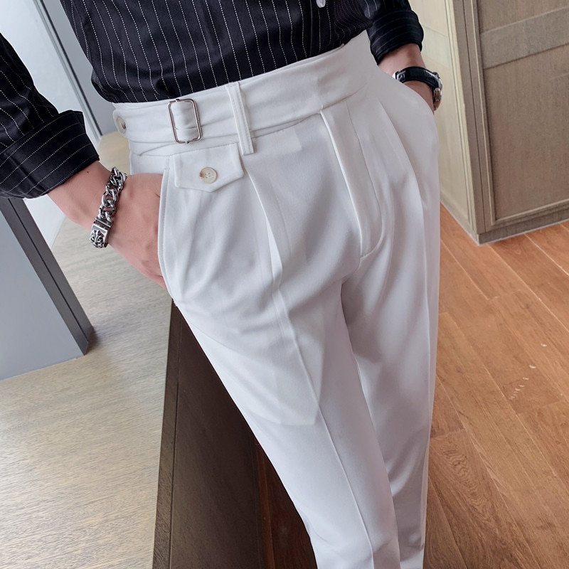 High Quality British Style Business Casual Slim Fit Men Dress Pants Solid All Match Formal Wear Office Trousers Gentlemen 36-29