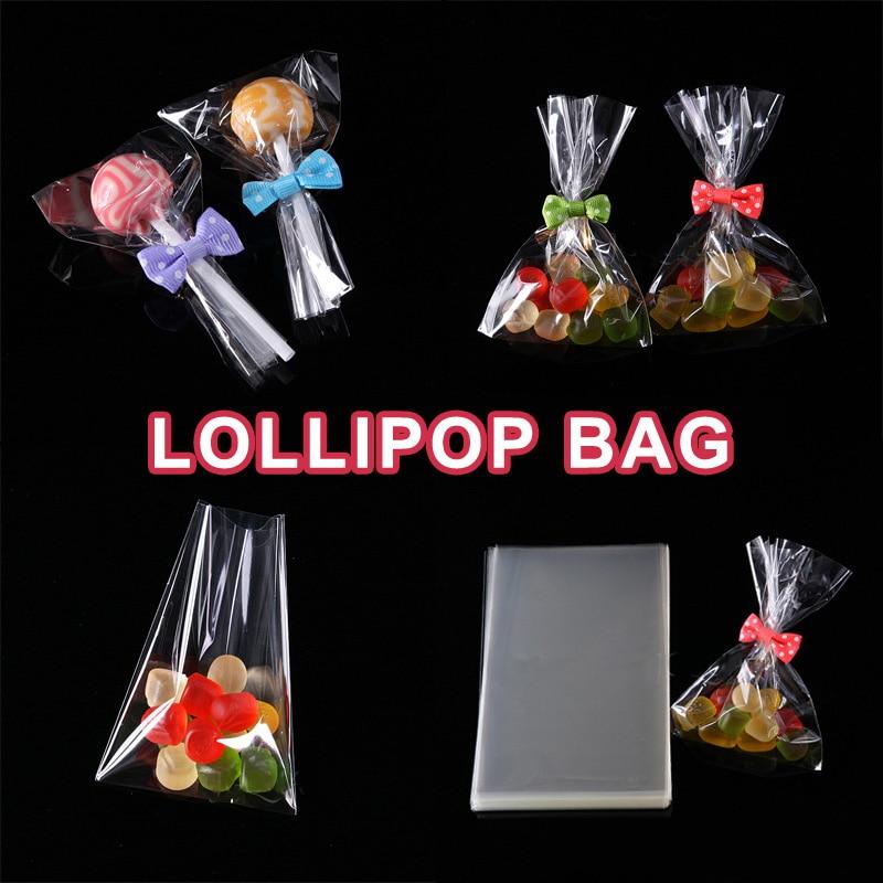 Bolsa de celofán Poly Opp 100 Uds., embalaje de galletas con tapa abierta, bolsas pequeñas de plástico, suministros festivos para fiestas, recuerdos de boda