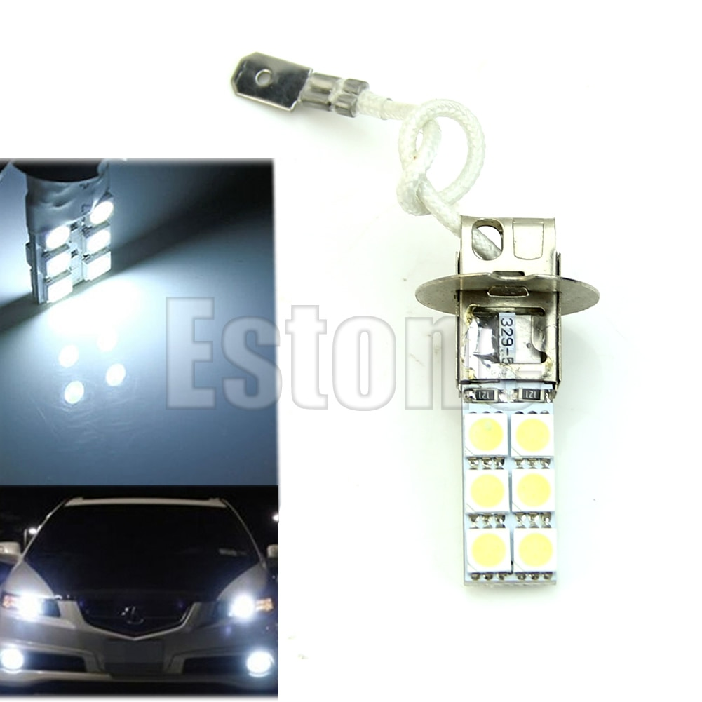 H3 12-LED 5050 lampadina testa di SMD 12V bianco luminoso della nebbia