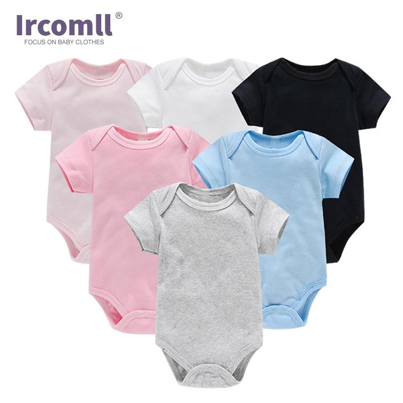 Ircomll 3PCS/Set Baby clothes Boy Newborn Bodysuit Cotton Soild Color Girl Clothes Overalls and Jumpsuits