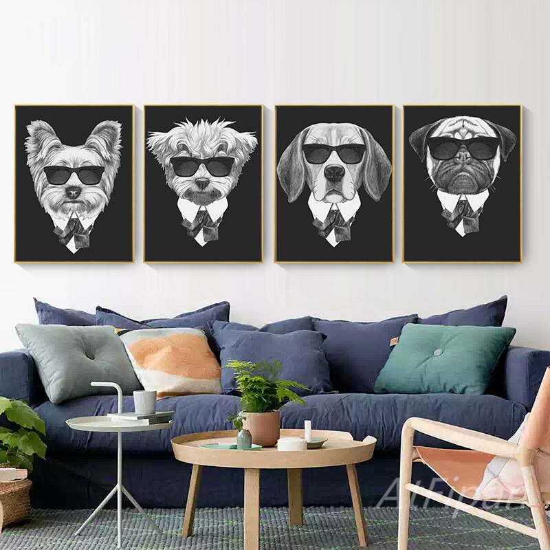Fashion Animal With Sunglasses Poster Print Hippie Minimalist Wall Art Canvas Painting For Living Room Modern Home Cuadros Decor