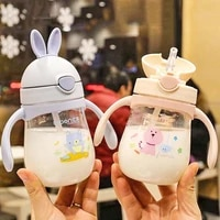 280ml cute rabbite baby feeding cup with a straw bpa free children learn feeding drinking handle kids water bottles training cup