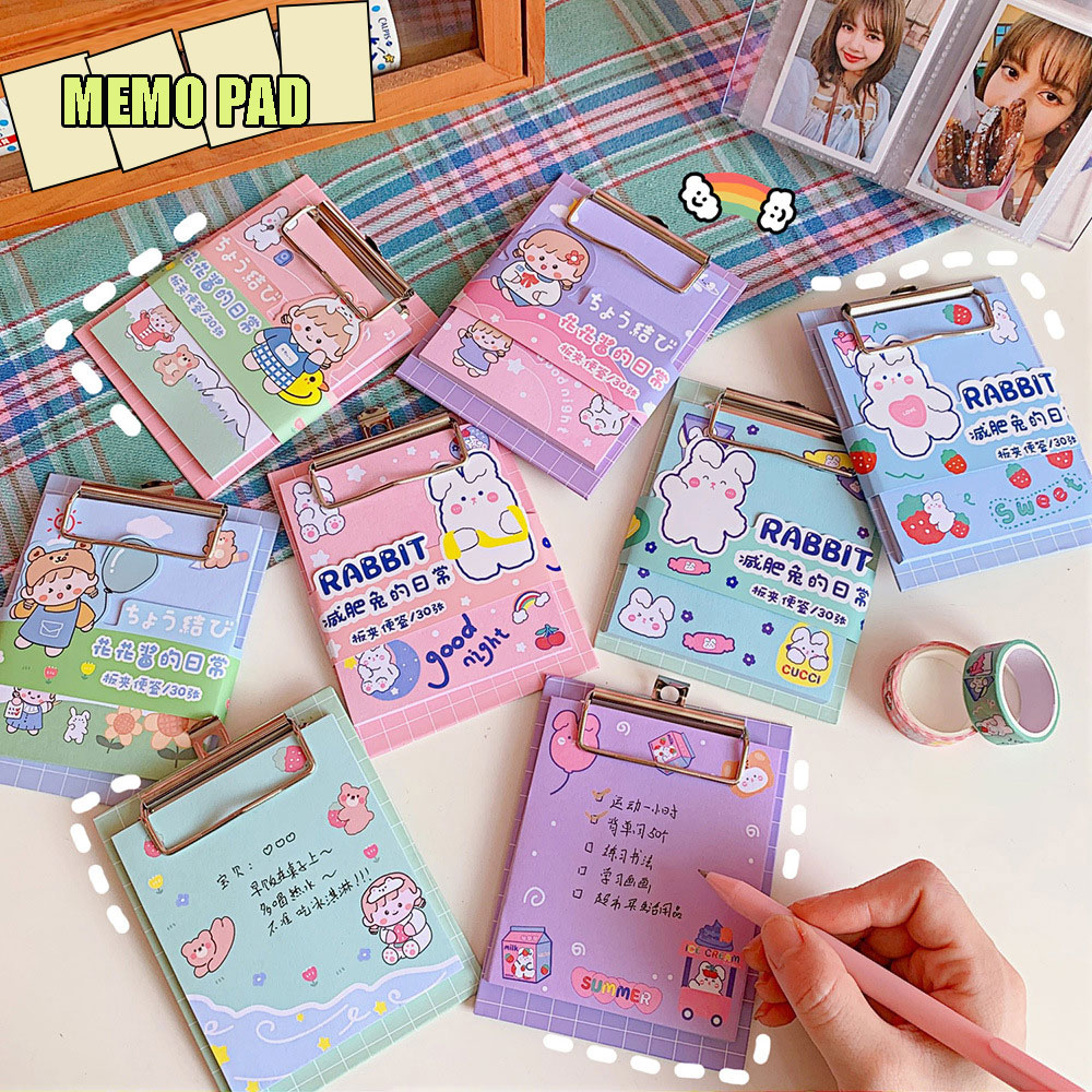 Korean Memo Pad with Board Clip Cute Strawberry Bunny Tearable Sticky Notebook Portable Student Small Vocabulary Book Diary Book 40packs lot cowhide korean retro exercise book student cute soft face copy small book cartoon notebook