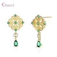 100 real 925 sterling silver dazzling green crystal earrings for women chinese style dangle earrings fine jewelry accessory