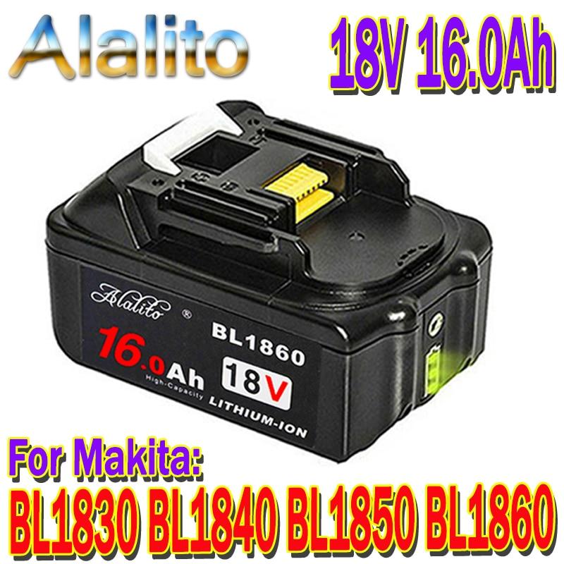 Batería Original para Makita, 18V, 16000mAh, 16,0 Ah, recargable, herramientas eléctricas, con recambio de Li-ion LED, LXT, BL1860B, BL1860, BL1850