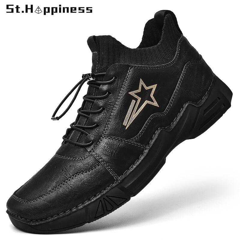 2021 شتاء جديد حذاء رجالي جلد موضة عالية أعلى أحذية عمل الانزلاق على المتسكعون جودة عالية جلد طبيعي حذاء كاجوال حجم كبير