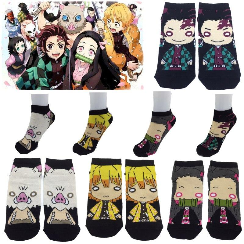 Anime Demon Slayer Kimetsu no Yaiba Kamado Tanjirou Kamado Nezuko Socks Embroider Cartoon Ankle Socks Creative Sock