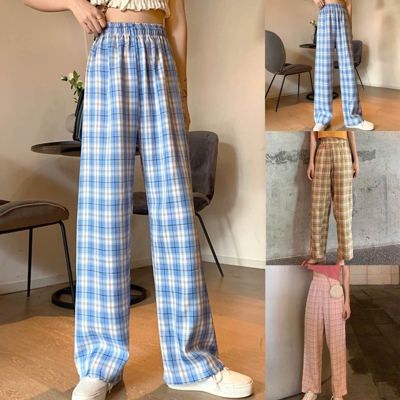 Retro Plaid Wide-leg Pants Women Loose Plaid High Waist Long Pants Ladies Wide Leg Pants Printed Pan